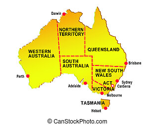 map of australia showing eight states and major cities isolated on white