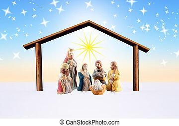 nativity scene - illustration of the nativity scene