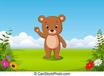 the natural view with a little brown bear waving his hand