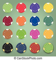 Illustration of the nine colorful poker chips