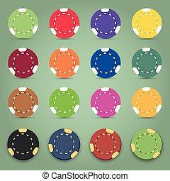 Illustration of the nine colorful poker chips