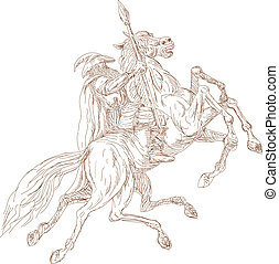 illustration of the Norse God Odin riding eight-legged horse, Sleipner in the wild hunt. Hand sketched and drawn.