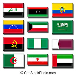 Illustration of the Organization of the Petroleum Exporting Countries (OPEC). OPEC consists of 12 member countries as at year end 2011.