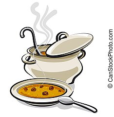 plate with a hot soup