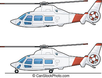 illustration of the passenger helicopter. Simple gradients only - no gradient mesh.