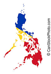 Illustration of the Philippines flag on map of country; isolated on white background.