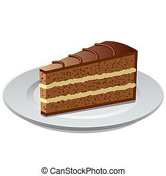 chocolate bisquit tart - illustration of the piece of the ...