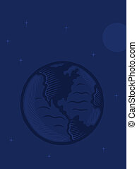 Illustration of the planet Earth against a navy blue ...