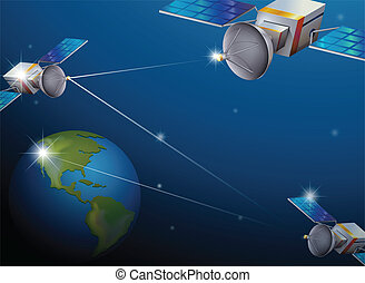 Illustration of the planet Earth and satellites