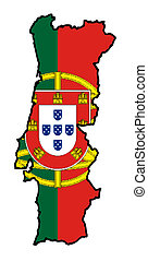 Illustration of the Portugal flag on map of country; isolated on white background.