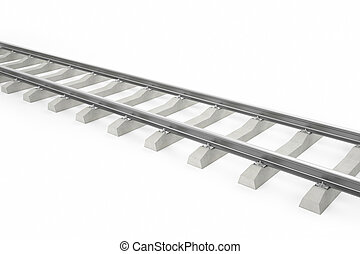 Illustration of the railway for the train isolated on a white background with shadows. 3d high resolution image