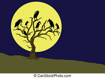 ravens on the rampike at night - Illustration of the ravens...