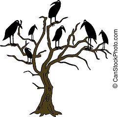 ravens on the rampike - vector - Illustration of the ravens...
