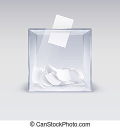 Illustration of the Realistic Ballot Box with Voting Paper in Hole. Transparent Voting Container with a Falling Ballot Paper. Confidential Polling Technology Element on Gray Backdrop