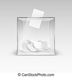 Illustration of the Realistic Ballot Box with Voting Paper in Hole. Transparent Voting Container with a Falling Ballot Paper. Confidential Polling Technology Element on Gray Background
