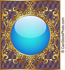 round background frame with gold ornamentation