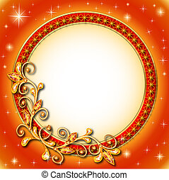 round background of precious stones and shining stars -...