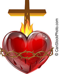 Illustration of the Sacred Heart, representing Jesus Christ's divine love for humanity.