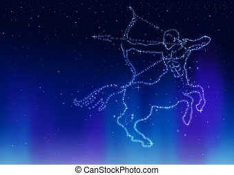 Sagittarius - Illustration of the Sagittarius symbol formed...