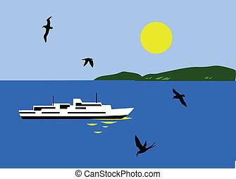 illustration of the sailboat seaborne