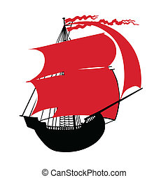 illustration of the sailfish with red sail