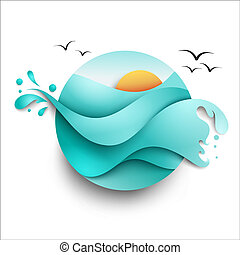 Illustration of the sea with sun in circle shape on white background. Vector icon