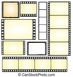 set of real and grunge film frames - Illustration of the set...