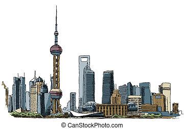 Shanghai - Illustration of the skyline of Shanghai, China.