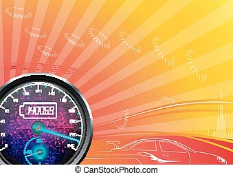 The speedometer of a car