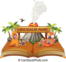 the storybook of the children playing with the dinosaur