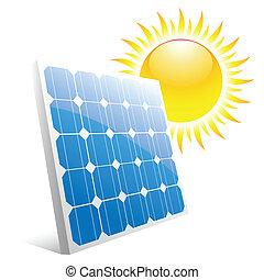 solar panel - Illustration of the sun and solar panels. ...