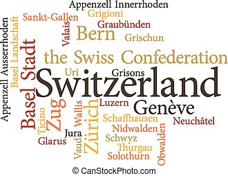 Illustration of the Swiss Cantons in word clouds isolated on...