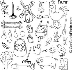 Illustration of the things and animals found at the farm on a white background.
