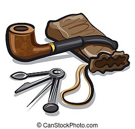 illustration of the tobacco pipe and accessories for smoking