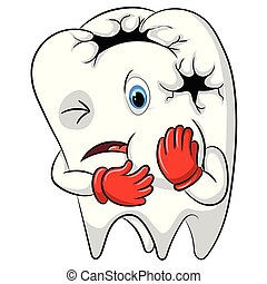 the toothache mascot the big hole in his body