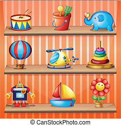 Illustration of the toy collections that are properly arranged in the wooden shelves