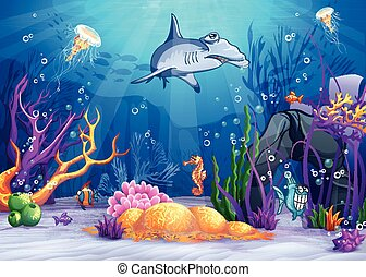 Illustration of the underwater world with a funny fish and hammerhead shark