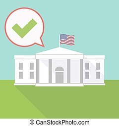 the White House with a balloon and a check mark