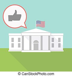 the White House with a balloon and a thumb up hand