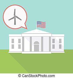 the White House with a balloon and a wind turbine
