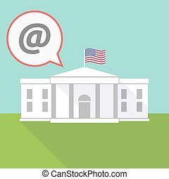 the White House with a balloon and an at sign