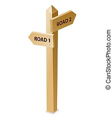 illustration of the wooden guidepost on the white background