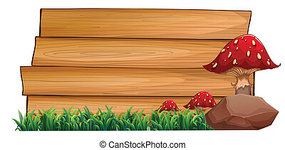 Illustration of the wooden signboards at the back of the mushrooms, green grasses and a rock on a white background