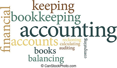 Illustration of the word accounting in word clouds isolated on white background