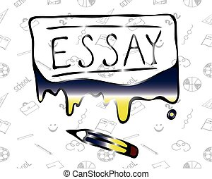 """Illustration of the word """"Essay"""" flowing paint - Vector"""