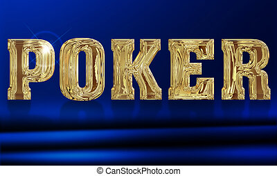 illustration of the word poker on a blue background
