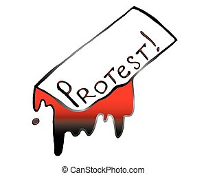 """Illustration of the word """"Protest"""" flowing paint - Vector"""