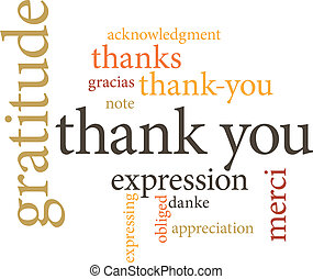 illustration of the word thank you in word clouds isolated on white background