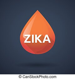 "Illustration of the word ""Zika""   in a blood drop"