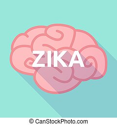 """Illustration of the word """"Zika""""   in a brain"""